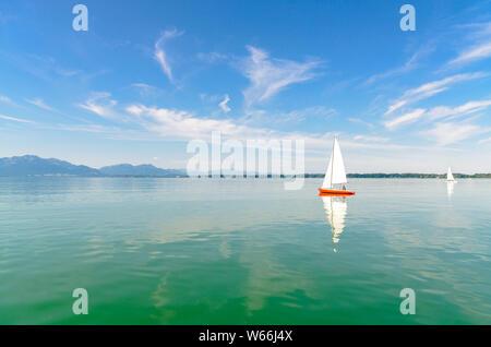 View on lake Chiemsee by Seebruck with boats, sailboats. Bavaria, Bayern, Germany - Stock Photo