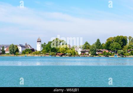 Fraueninsel, Frauenchiemsee on lake Chiemsee with  church, monastery. Bavaria, Bayern, Germany - Stock Photo