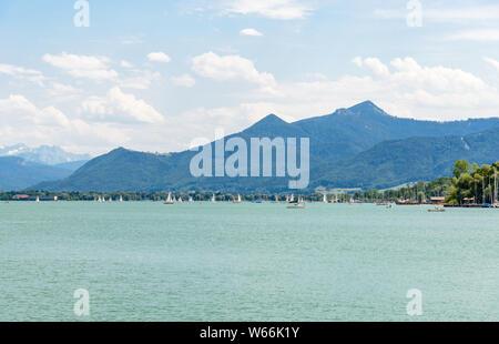 View on lake Chiemsee with boats, Sailboats. Bavaria, Bayern, Germany - Stock Photo