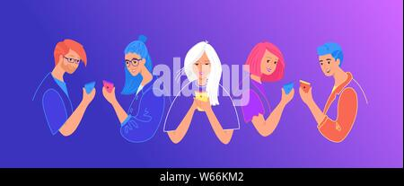 Chatting and communication on social media concept flat vector illustration. Teenage people using mobile smartphone for texting, leaving comments