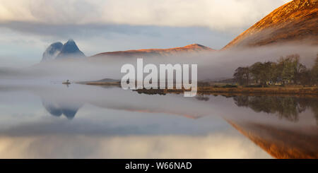 Reflections in Loch Borralan, Sutherland - Stock Photo