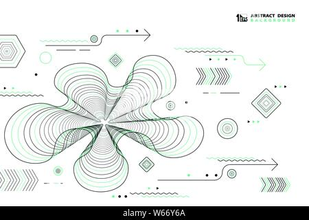Abstract lines geometric vector elements design black and green color decoration. You can use for ad, poster, artwork, print, cover design, artwork. - Stock Photo