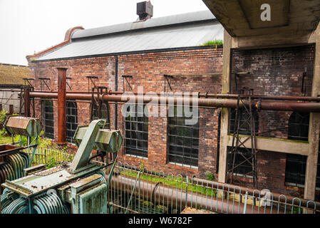 Old abandoned industrial building on a rainy day. Lady Victoria Colliery, Newtongrange, Scotland. - Stock Photo