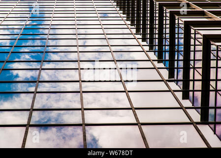 The high curtain wall building in downtown Montreal - Stock Photo