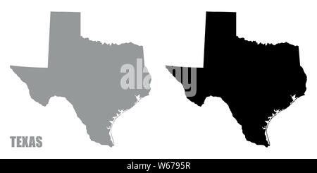 Texas silhouette maps isolated on white background - Stock Photo