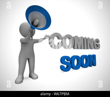Coming soon concept icon means available shortly. An arrival or promotion under construction - 3d illustration - Stock Photo