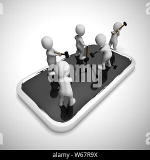 Mobile smartphone repair or overhaul. Fixing the hardware or application - 3d illustration - Stock Photo