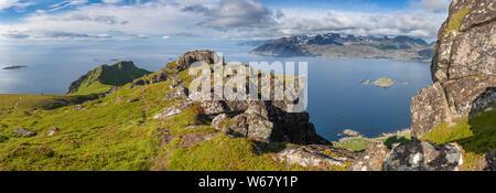 Looking from the high plateau Ballstadheia to the island Flakstadøya, Lofoten islands, Norway - Stock Photo