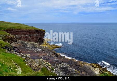 Rock Formations at Riven Tangie on the Deerness peninsula, Orkney. - Stock Photo