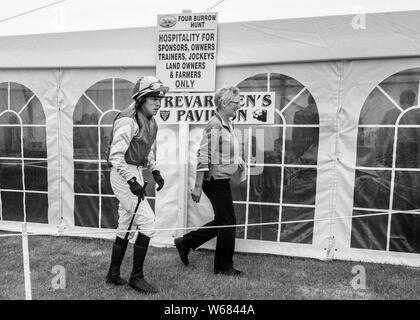 jockeys at the four burrow hunt point to point horse race 2019 - Stock Photo