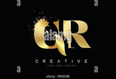 GR G R Letter Logo with Gold Melted Metal Splash Vector Design Illustration. - Stock Photo