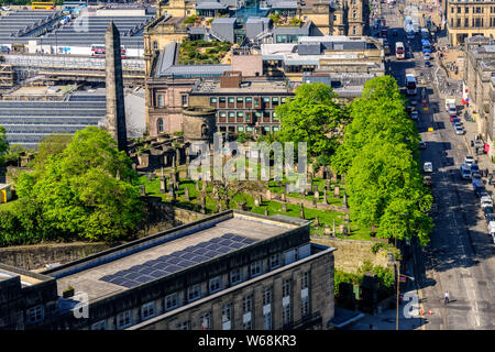Edinburgh, Scotland - May 13, 2019:  The Old Calton Burial Ground is a graveyard at Calton Hill, in Edinburgh, to the north-east of the city centre. - Stock Photo