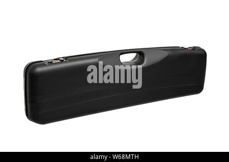 Plastic case for weapons with a combination lock and handle for transport isolate on a white background. - Stock Photo