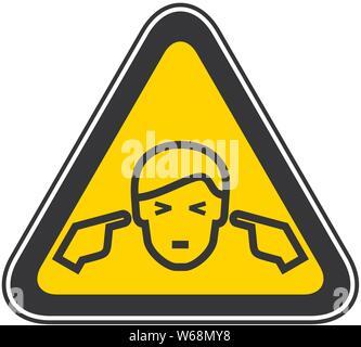 Triangular yellow Warning Hazard Symbol, vector illustration - Stock Photo