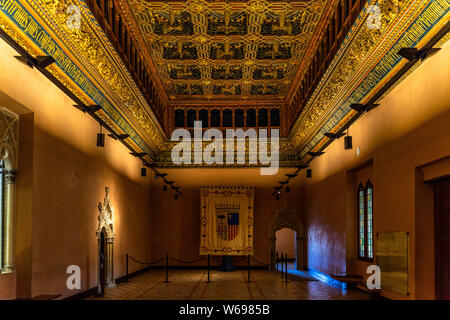 Grand Hall at Aljaferia Palace, built by catholic monarchs in 16th century. Zaragoza, Aragon, Spain, December 2018 - Stock Photo
