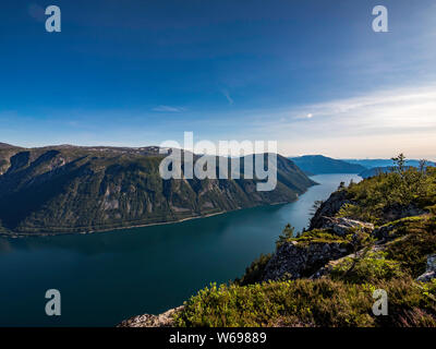 Beautiful scenery on top of a fjord in Norway during summer