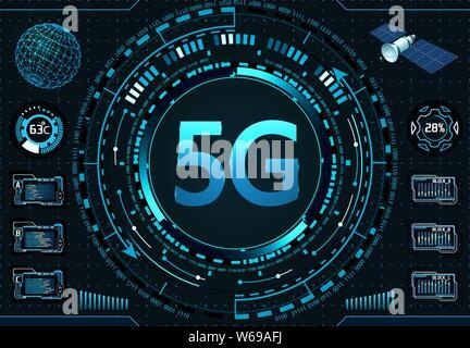 5G New wireless high-speed Internet connection and Wi-Fi. Spunnik navigation. Illustration - Stock Photo