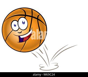 Bouncing basketball cartoon isolated on white backgroud - Stock Photo