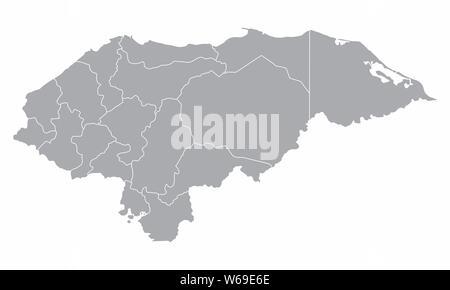 Honduras regions map isolated on white background - Stock Photo