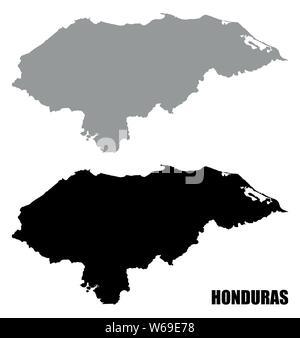 Honduras silhouette maps isolated on white background - Stock Photo
