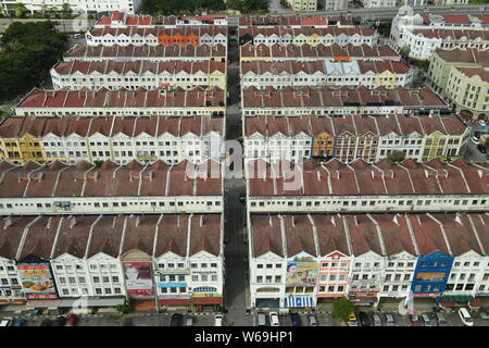 Aerial view of old terraced houses in blocks in Malacca, Malaysia - Stock Photo