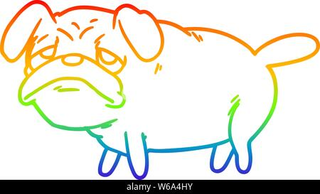 rainbow gradient line drawing of a cartoon unhappy pug dog - Stock Photo