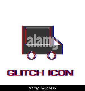Truck icon flat. Simple pictogram - Glitch effect. Vector illustration symbol - Stock Photo