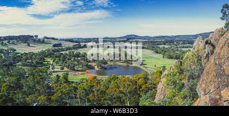 Wide panorama of scenic Australian countryside in Melbourne, Victoria - Stock Photo