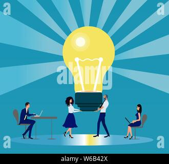 Bright idea and innovation in business concept. Vector of business people working as team being  creative - Stock Photo
