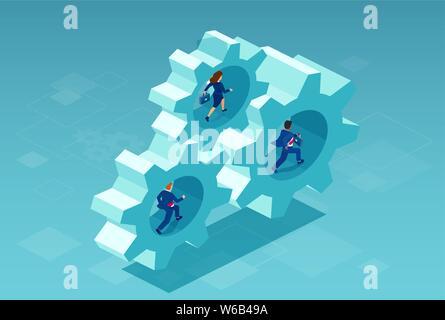 Vector of a business people running inside gear mechanisms - Stock Photo