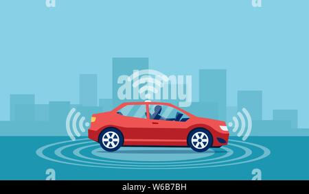 Vector concept of a driverless car with man sitting inside reading a book relaxing - Stock Photo