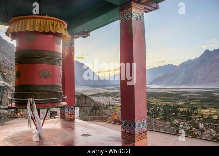 Thiksey, Ladakh, India- Dated:30 July, 2019- Prayer wheel in main Gompa building at Thiksey Monastery in Ladakh - Stock Photo