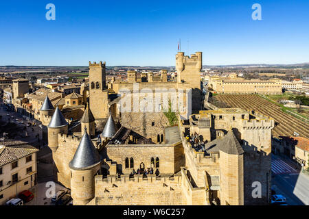 Aerial view of the Royal Palace of Olite, a beautiful medieval castle in Navarre, Spain - Stock Photo