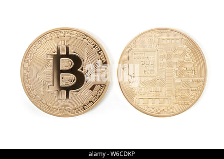 Bitcoin front and back, golden coins isolated on white, clipping path included - Stock Photo
