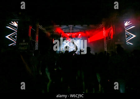 Brezje, Croatia - 19th July, 2019 : Audience during the Forestland, ultimate forest electronic music festival located in Brezje, Croatia. - Stock Photo