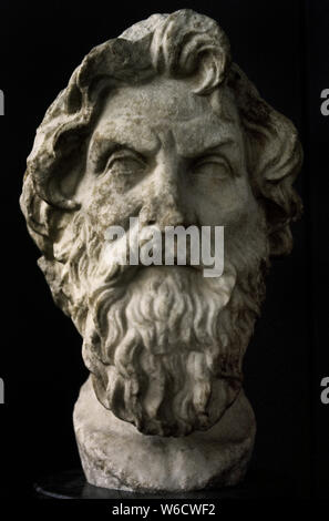 Antisthenes (445-365 BC). Greek philosopher, founder of the Cynic philosophy. Bust. Roman copy, 3rd-2nd centuries BC. It was found on the Appian Way (Via Appia) in Rome. British Museum. London. England. United Kingdom. - Stock Photo