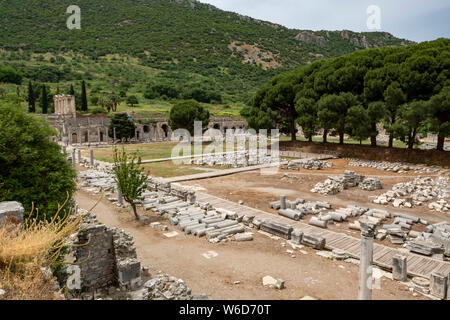 The ruins of the ancient Greek and Roman city of Ephesus, once a major port of the Roman empire, and located in the Izmir Province of Turkey - Stock Photo