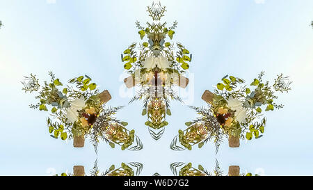 Panorama frame Interesting geometric design shapes of a floral pattern against the sky - Stock Photo