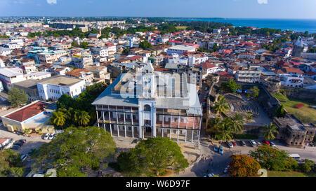 Zanzibar Stone Town aerial view - Stock Photo