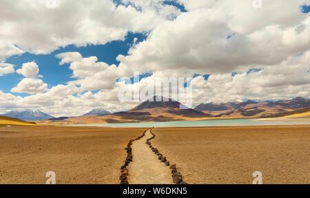 Laguna Miscanti. salt lake and mountains landscape, Atacama Altiplana desert. Chile, South America