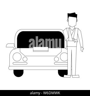 insurance protection risk security cartoon in black and white - Stock Photo