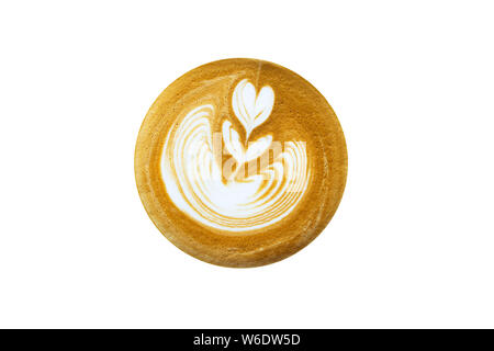 Top view of hot coffee latte  with rosetta isolated on white background.Clipping Path - Stock Photo