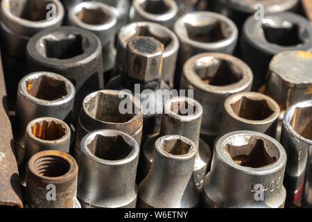 used female socket tools set for car repair. - Stock Photo