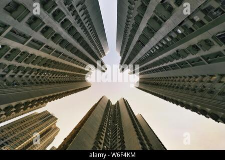 --FILE--View of the houses of public rental housing (PRH) in Hong Kong, China, 26 October 2017. - Stock Photo