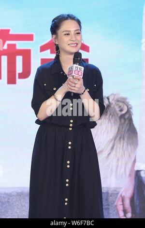 Hong Kong Singer and actress Gillian Chung of Hong Kong pop duo Twins attends a press conference for new television series 'Tree in the River' in Beij - Stock Photo
