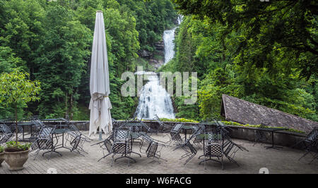 Giessbach falls on Lake Brienz - Stock Photo