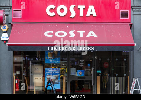London, UK. 1st Aug, 2019. A Costa Coffee shop and logo seen in London. Credit: Dinendra Haria/SOPA Images/ZUMA Wire/Alamy Live News - Stock Photo