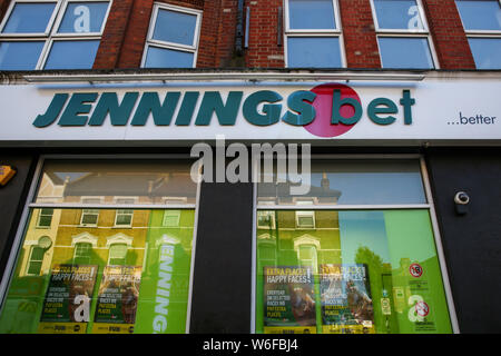 London, UK. 1st Aug, 2019. A JenningsBet Bookmakers shop seen in London. Credit: Dinendra Haria/SOPA Images/ZUMA Wire/Alamy Live News - Stock Photo
