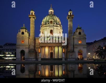 Karlskirche (St. Charles's Church) in Vienna. Austria - Stock Photo