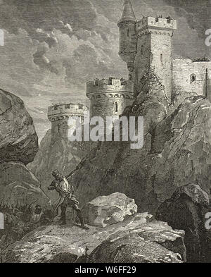 King Richard I (the Lionheart) fatally wounded, Castle Chalus, 25 March 1199, Chateau de Chalus-Chabrol, Haute-Vienne, France - Stock Photo